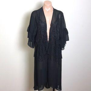 Umgee Duster Cardigan Black Tassel Fringe Crochet